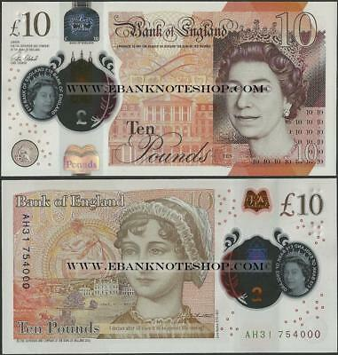 Great Britain/England,2017,10 Pounds,Polymer,UNC,QEII Jane Austen,AH pre