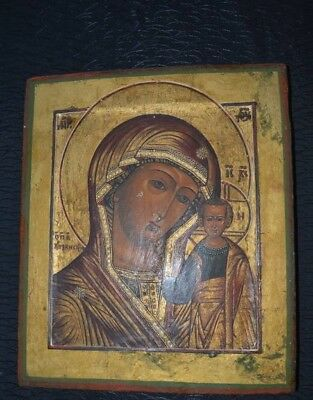 VIRGIN MARY OF KAZAN - ANTIQUE OLD RUSSIAN HAND PAINTED ICON, BIG, 310mm x 265mm