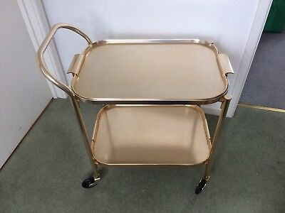 Vintage 2 Tier Tea or Drinks Trolley Gold Anodised Frame and Tray