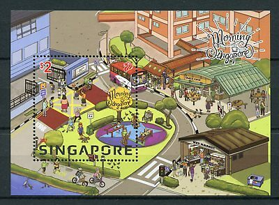 Singapore 2017 MNH Morning Singapore 1v M/S Busses Bicycles Trees Stamps
