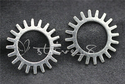 Hot 10pcs Antique Silver Toothy Sprockets Open Gear steampunk DIY Jewelry 25mm