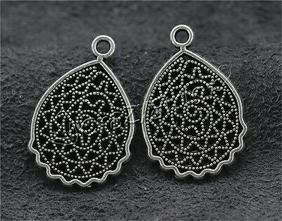10pcs Tibetan Silver Hollow Flower Jewelry Finding Charms Crafts Pendant 25x17mm