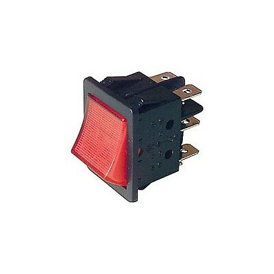 Dpdt Rocker Switch Illuminated 250Vac @ 10A - Red