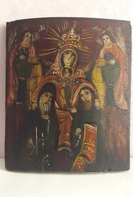VIRGIN MARY OF PECHERSK - ANTIQUE OLD RUSSIAN HAND PAINTED ICON, 360mm x 310mm