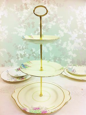 Hand Painted Pastel 3 Tier Cake Stand