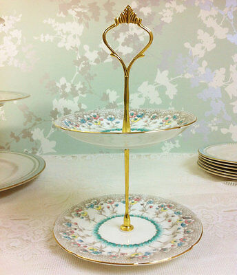 2 Tier Mini Stand, Hand Painted Turquoise