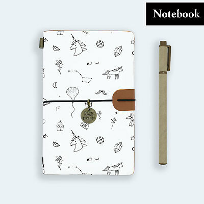 Hand Made Genuine Leather Journal Travel Diary Travelers Notebook Size Unicorn