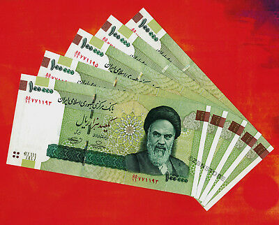5 x 100,000 Iran Rials 100000 Rial Banknotes UNC ½ Million Currency Uncirculated