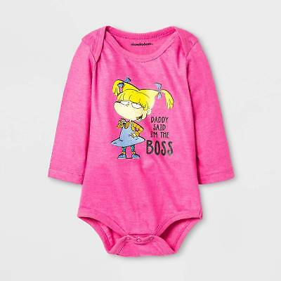 Baby Girls' Rugrats® I'm the Boss Long Sleeve Bodysuit - Pink