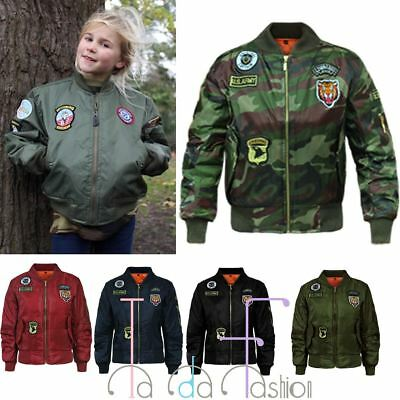 Clearance MA1 Kids Girls Badge Retro Flight Military Bomber Harrington Jacket
