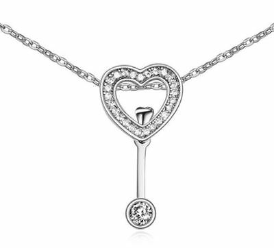 Women's Love Heart Arrow Necklace Pendant Silver Encrusted Crystal Stones UK 1