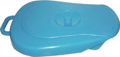 Aidapt Robust Plastic Bedpan with Fitted Lid and Intergrated Handle in Blue