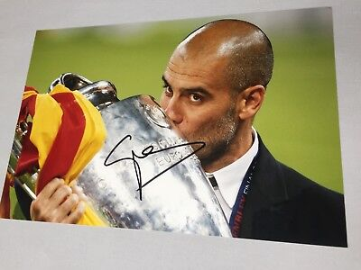 PEP GUARDIOLA Manchester City In-person signed  photo 8 x 12 Football CL