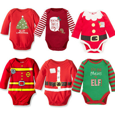 Christmas Xmas Baby Romper Bodysuit Clothes Dress Kids Costume 0-18 Months