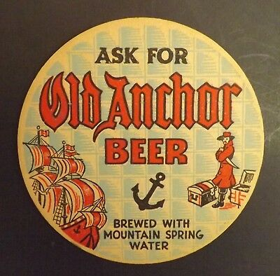 Vintage Old Anchor Pirate Beer Coaster  - Brackenridge, PA - No Reserve!