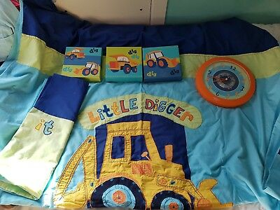 next little digger duvet set, wall art and clock