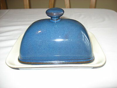 Denby Boston Blue Complete Butter Dish in Excellent Condition