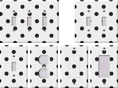 White with Black Polka Dots - Light Switch Covers Home Decor Outlet