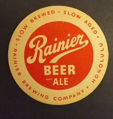 Vintage Rainier Beer Coaster  - Honolulu, Hawaii HI- No Reserve!