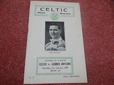 Celtic v Albion Rovers. Scottish Cup First Round. 31st January 1959