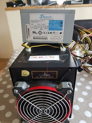 Bitmain Antminer S3 Bitcoin ASIC Miner SHA-256 ~450GH/s with psu and wifi ariel