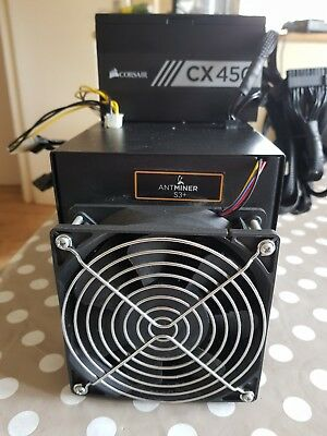 Bitmain Antminer S3+ Bitcoin ASIC Miner SHA-256 ~480GH/s with psu and wifi ariel