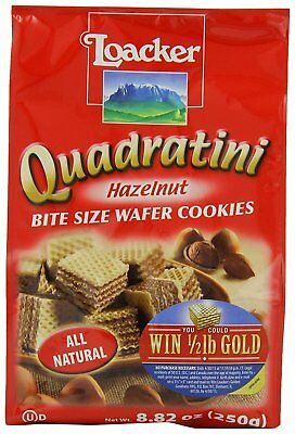 Loacker Quadratini Hazelnut Wafer Cookies, 8.82-Ounce Packages Pack of 8