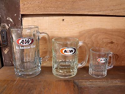 1 3 oz, 1 8oz & 1 12oz Vintage Clear Chunky Glass A&W Root Beer Glasses Mugs