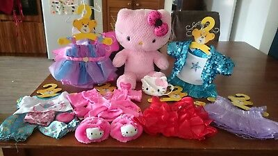 Build a Bear- Pink Hello Kitty plush and 6 outfits
