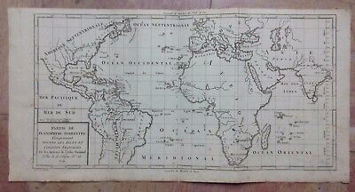 PLANISPHERE DATED 1791 BY D'HOUDAN ANTIQUE COPPER ENGRAVED MAP XVIIIe CENTURY