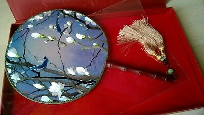 Vintage Chinese Wood Handle Hand Embroidered Birds Silk Face Screen Fan