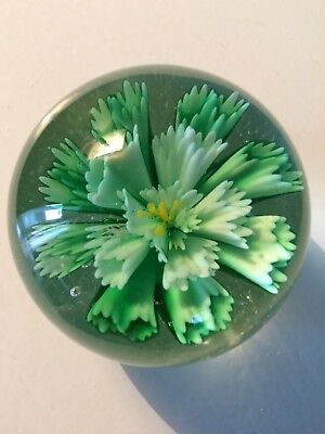 Pretty Vintage Paperweight With Green Floral Design.