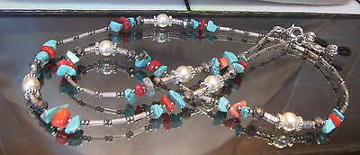 Spectacle Glasses Eyewear Beaded Chain Holder Turquoise Coral Gemstone  (S147)