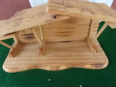 ENESCO Vintage 1990s Precious Moments Wooden Christmas Nativity Manger/Stable