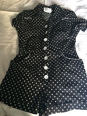Vivien Of Holloway Playsuit Black with White Spot Pattern Discontinued Size L