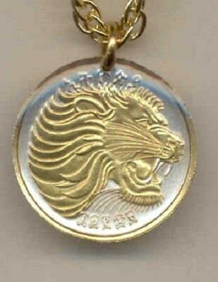 Ethiopia 10 Cent Lion Coin Gold on Silver Pendant w/ 14 Carat Chain Necklace