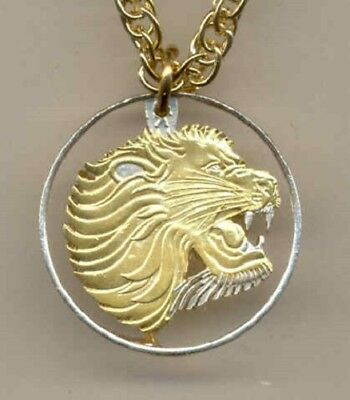 Ethiopia 10 Cent Lion Cut Gold on Silver Pendant + Necklace Great Holiday Gift