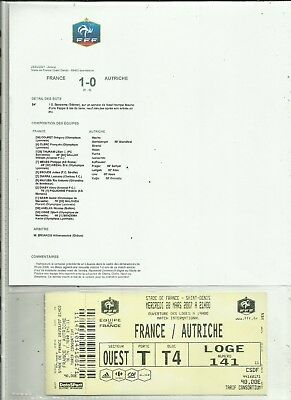 1 Ticket Football Amical  France/ Autriche