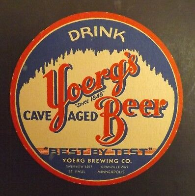 Vintage Yoerg's Beer Coaster - Minneapolis, St. Paul, MN - No Reserve!