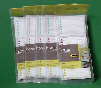 """Lot of 5 Post-It 7366-HCG-PP List Note, 25 Sheets Per Pad, 3.2""""x 7"""" ~ Free S/H"""