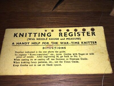 Rare War-time Knitting Needle Gauge & Measure