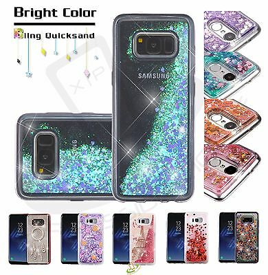 Samsung GALAXY S8 ACTIVE Bling Hybrid Liquid Glitter Rubber Protector Case Cover