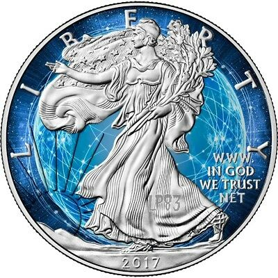 2017 1 Oz Silver AMERICAN EAGLE BLUE PASS Coin..