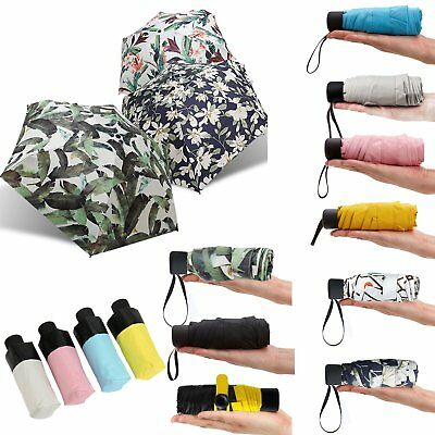 Mini Pocket 5 Folding Compact Princess Anti UV Sun Rain Umbrella Parasol Case