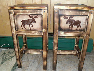 Set of 2 northwoods moose table nightstand end table bears  made in Maine wood
