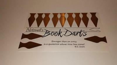Vintage Notewell's Book Darts Line Markers 12 Count Brass Metal Pack book marks
