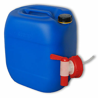 30 L plastic water container, jerrican, blue + 1 tap DIN 61 (1x22027+1x22010)