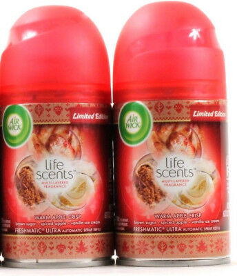 2 Air Wick Limited Edition Life Scents Warm Apple Crisp Brown Sugar Spiced Apple