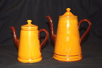 Watcombe Torquay Ware Two COFFEE POTS Honey Glaze finish