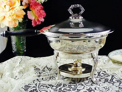 Vintage Bristol Silver Co Silver Plated Chafing Dish W/Wood Handle Complete 5 Pc